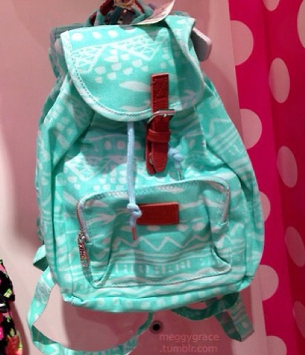 bag tribal pattern mint pastel blue victoria's secret canvas backpack cute backpack back to school mint