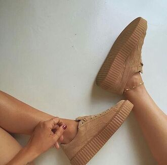 shoes nude sneakers low top sneakers puma suede sneakers tan pumas suede