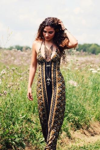 dress maxi dress bohemian dress boho chic boteh patterned dress floral dress curly hair black dress black and gold dress bodycon dress free people