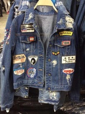 jacket,run,90s style,california,lego,los angeles,denim jacket,blue,ripped jeans,grunge,ripped,badge,cool,denim,vintage,patch