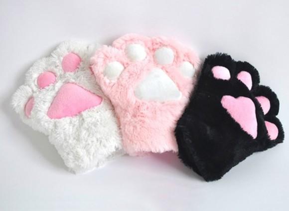 kitty paws black hat gloves pink white cats kawaii stuffed animal