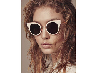sunglasses gigi hadid model celebrity white sunglasses round sunglasses nude lipstick hairstyles
