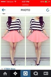 jewels,bracelets,skirt,stripes,shirt,pink,shoes,t-shirt