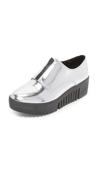 zip oxfords silver shoes