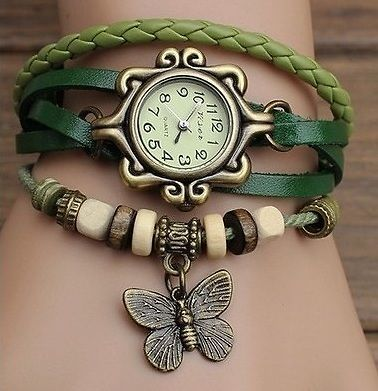 Ladies vintage wrist watch butterfly design