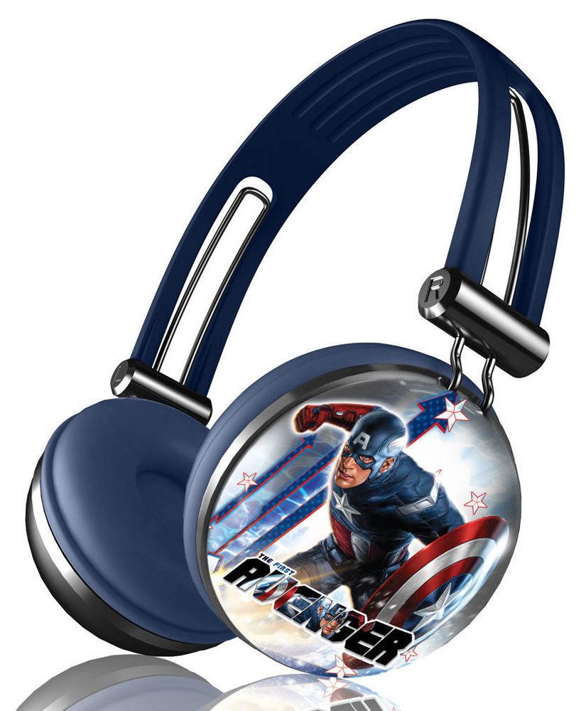 Marvel captain america series aviator stereo over ear headphones original