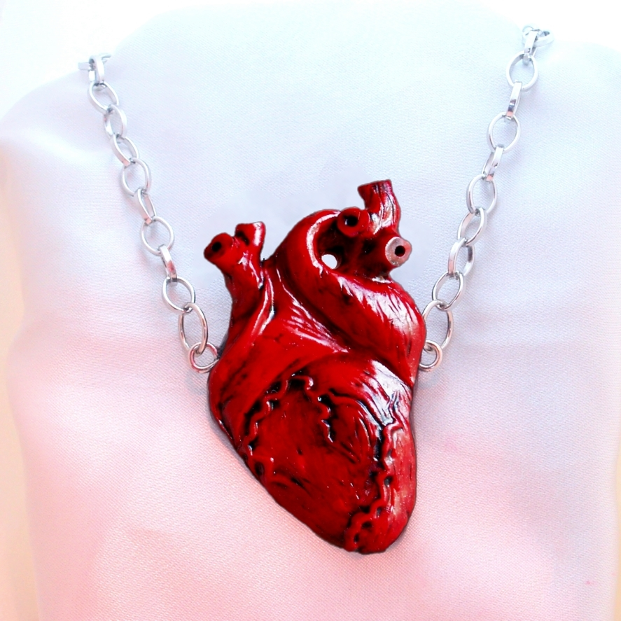 Hand sculpted large anatomical human heart necklace in red only at 