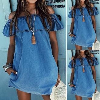 dress blue dress ruffle dress off the shoulder dress denim dress