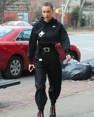 jacket black nike shoes bag boss hot phone belt lit bella hadid pants