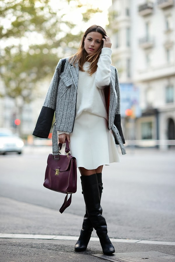 fashion vibe shoes skirt bag sweater jacket