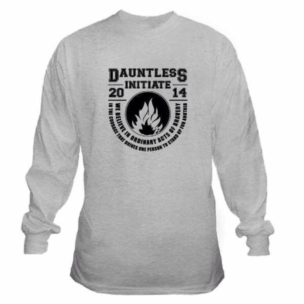 jacket divergent black dauntless sweater sweatshirt grey fire symbol black writing long sleeves grey