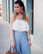 jewels,plus size,curvy,tumblr,accent earrings,earrings,accessories,Accessory,top,white top,ruffle,pants,wide-leg pants,blue pants