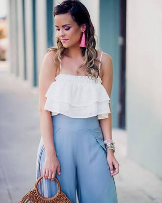 jewels plus size curvy tumblr accent earrings earrings accessories accessory top white top ruffle pants wide-leg pants blue pants