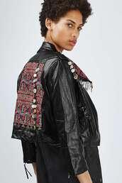 jacket,biker jacket,embroidered,black leather jacket,topshop