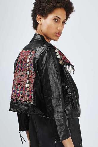 jacket biker jacket embroidered black leather jacket topshop