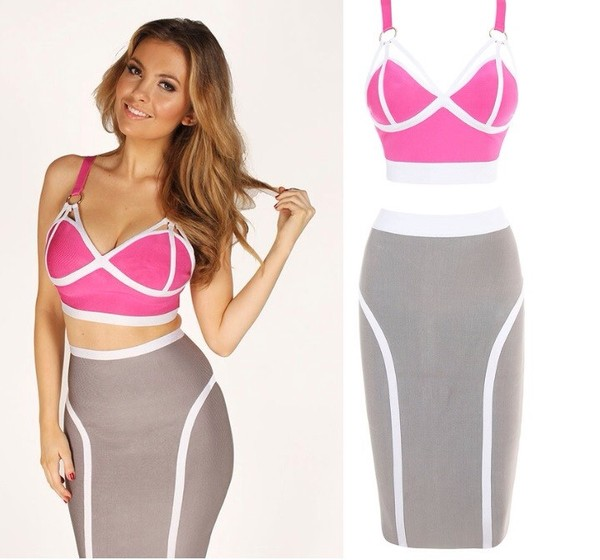 dress pink two-piece bodycon dress