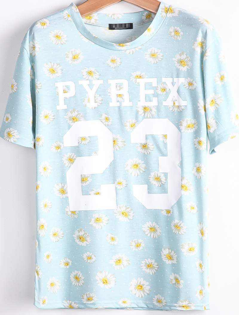 Light Blue Short Sleeve Daisy 23 Print T-Shirt - Sheinside.com