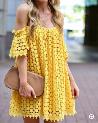 dress tumblr lace dress yellow yellow dress off the shoulder off the shoulder dress bag nude bag mini dress