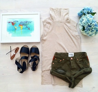 shorts sabo skirt tank top high neck sandals travel summer green olive green army green beige sunglasses flowers map style fashion girl high waisted shorts