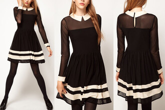 dress mesh black white peter pan collar black dress