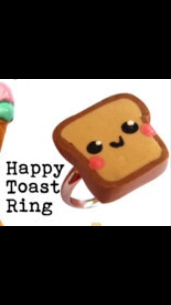 jewels happy cute toast ring
