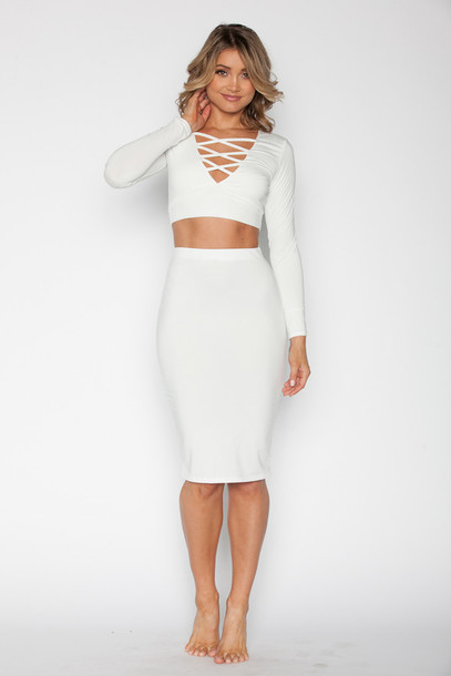 Dress: bikini luxe, white, white set, crop tops, skirt, midi skirt ...