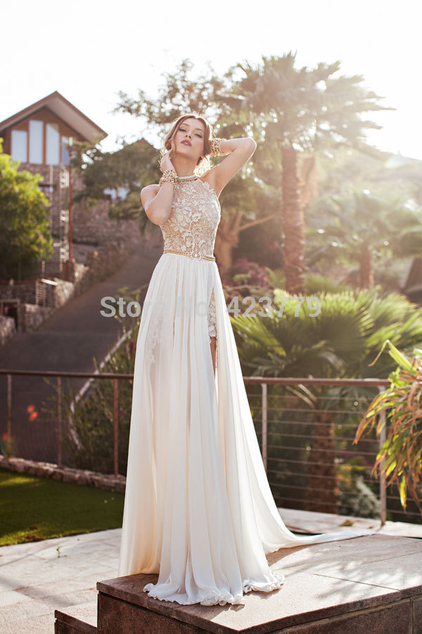 Aliexpress.com : Buy Romantic 2015 Ivory Lace Vestido de Noiva A line Beaded Halter Sexy Backless High Low Beach Wedding Dress Chiffon 2016 from Reliable chiffon maxi dress white suppliers on 27 Dress | Alibaba Group