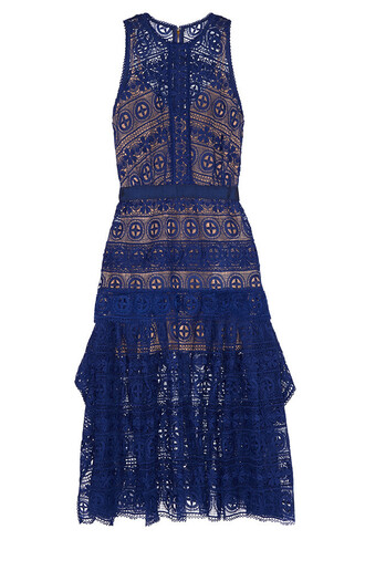 dress self portrait lace dress blue lace dress midi dress wedding clothes