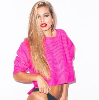sweater pink neon neon pink bright jumper knitwear knitted sweater fall sweater winter sweater