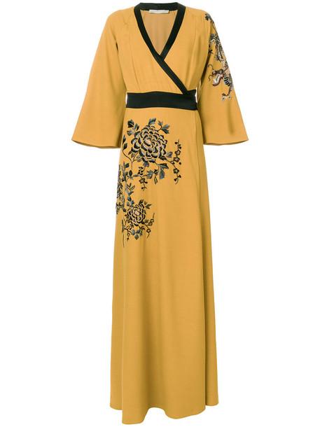 dress wrap dress metal embroidered women wool yellow orange