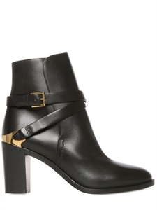 80mm belted calf leather ankle boots