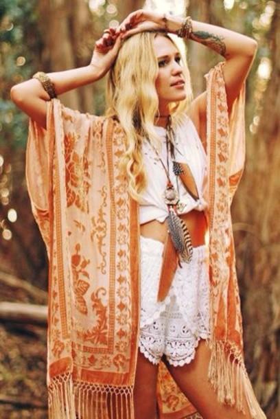 Cardigan Boho Shirt Boho Boho Chic Hippie Orange