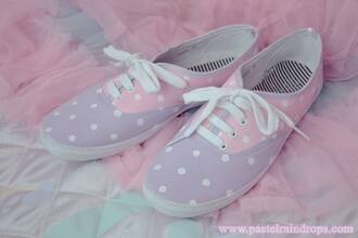 shoes purple vans sneakers vans sneakers pink purple shoes pastel pastel pink kawaii kawaii shoes cute white polka dots pastel sneakers