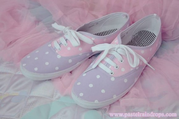 shoes pink sneakers white vans purple vans sneakers purple shoes pastel pastel pink kawaii kawaii shoes cute polka dots