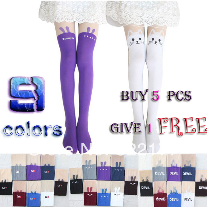 Free Shipping 2014 Fall New Arrive Women Fashion Black White Blue Purple Cat Rabbit Stockings Velvet Patchwork Pantyhose Tights-in Tights from Apparel & Accessories on Aliexpress.com
