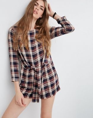 ASOS Check Romper with Wrap Front Tie at asos.com