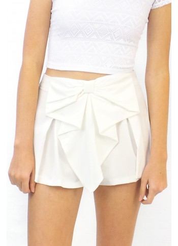 Shorts Bow Front High Waisted White