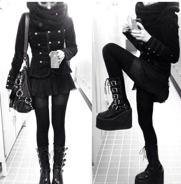 shoes boots pastel goth jacket emo goth cool all black everything platform shoes short black jacket coat black black coat leather buckles goth winter boots high shoes githic emo shoes goth shoes black shoes demonia platform shoes nu goth dark cute winter outfits lolita grunge
