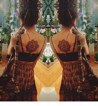 skirt hippie brown fashion tribal pattern long dress long skirt hippie chic tattoo