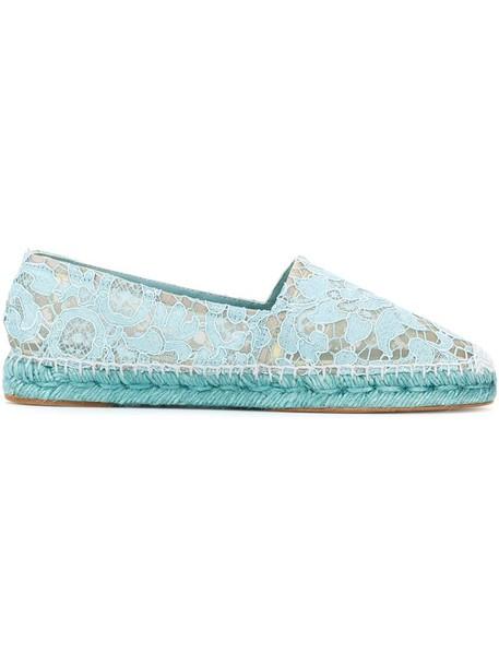 Dolce & Gabbana women espadrilles lace leather cotton blue shoes