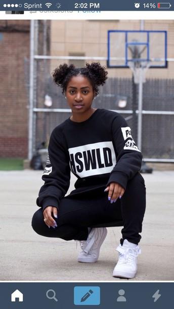 african american dope trill crewneck sneakers natural hair sweatpants sweatshirt black girls killin it joggers urban model