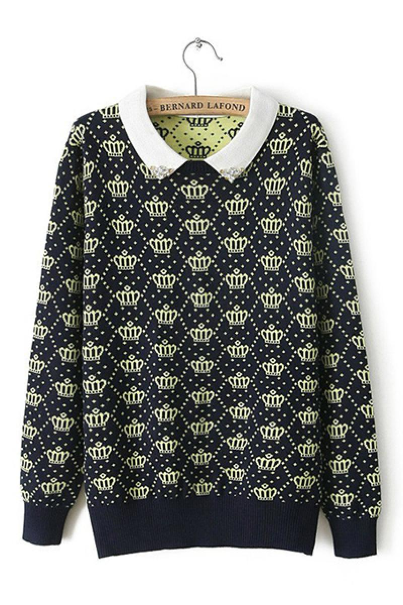 Vintage Lapel Textile Printing Pullover Knitwear ,Cheap in Wendybox.com
