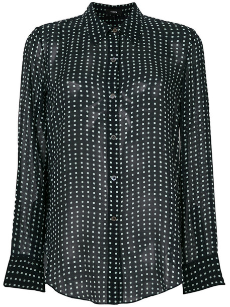 Theory - polka dot print sheer shirt - women - Silk - XL, Blue, Silk