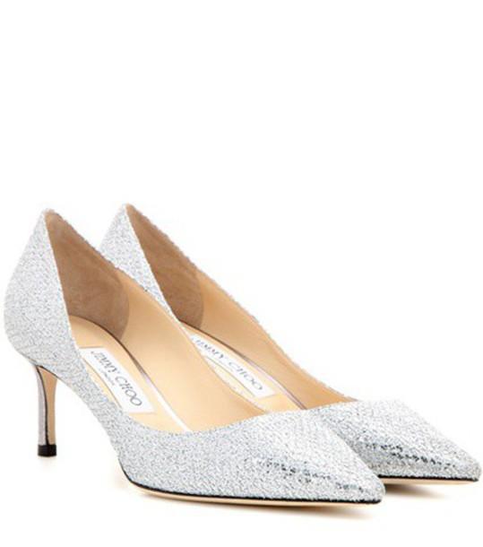 Jimmy Choo glitter pumps silver shoes