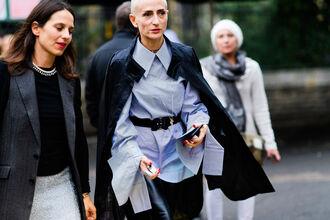 shirt fashion week street style fashion week 2016 fashion week london fashion week 2016 streetstyle blue shirt long sleeves waist belt belt black belt coat black coat
