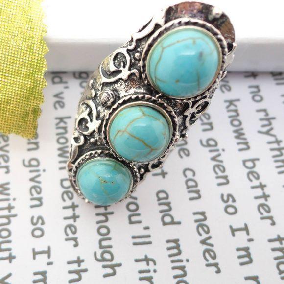 New fashion metal adjustable turquoise finger ring 20mm en vente sur ebay.fr (fin le  15