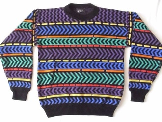 ugly sweater 90s style 90s style colorful indie hipster ugly etsy pattern colorful pattern soft grunge grunge pinterest vintage jumper