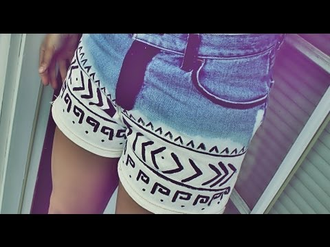 DIY: How to Tribal Print Shorts - YouTube