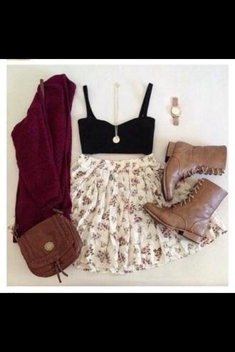 bag skirt shoes tank top sweater cardigan