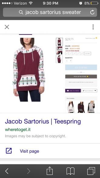 jacket it is maroon it is burgunfy aztec hoodie maroon white blue coral